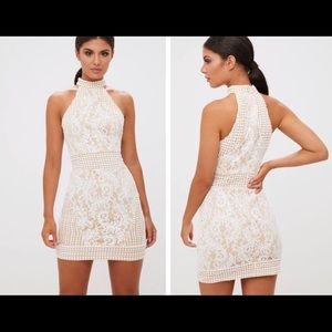 White High Neck Lace Crochet Bodycon Dress